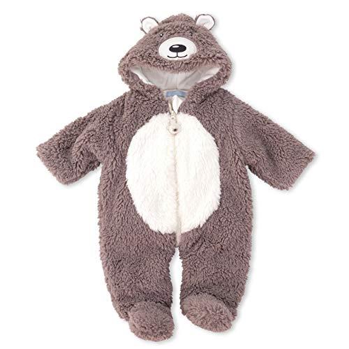 Losan Baby Teddy Overall Schneeanzug Unisex braun | Motiv: Bär | Plüsch Anzug mit Kapuze für Neugeborene & Kleinkinder | Größe: 9-12 Monate (74/80)