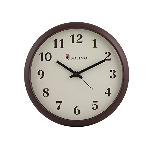 Solimo 11-inch Wall Clock (Step movement, Brown Frame)