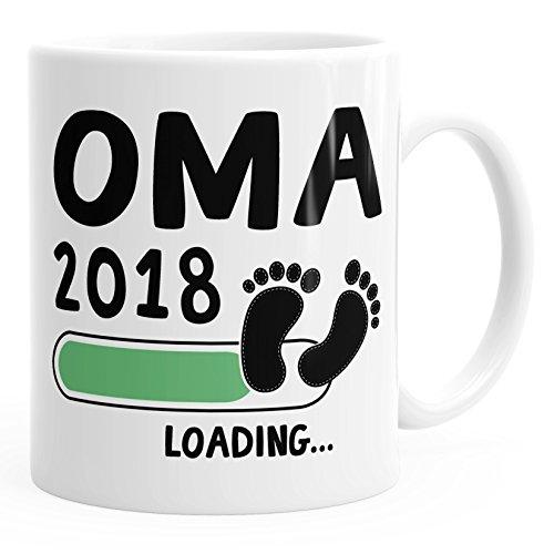 Kaffee-Tasse Oma 2018 loading Geschenk-Tasse für werdende Oma Schwangerschaft Geburt Baby MoonWorks® weiß unisize
