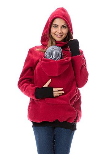GoFuture Damen Tragejacke für Mama und Baby Känguru Klassiker Viva GF2301XB3 Rot Gr. 38 Baby Winter Jacke