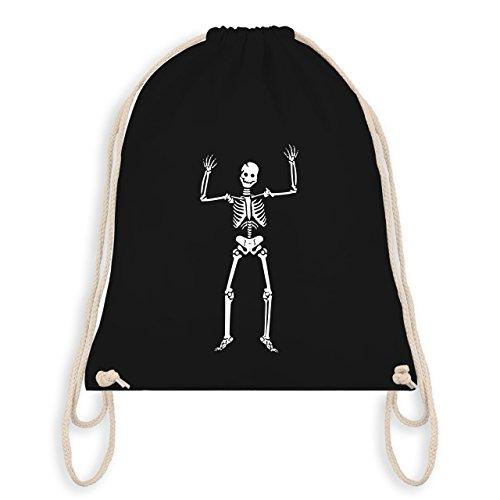 Shirtracer Halloween - Skelett Skeleton - Unisize - Schwarz - WM110 - Turnbeutel I Gym Bag (Mädchen Sensenmann Kostüm)