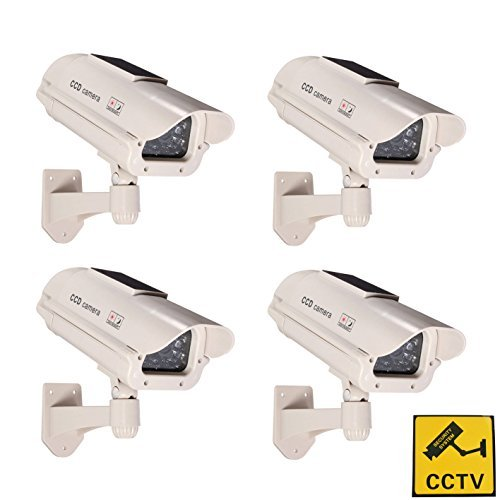 phot-r 4x Solar Powered Outdoor Indoor Fake Nachahmung IR CCTV blinkende LED Blinklicht Überwachung Sicherheit Mini Speed Dome Dummy Attrappe Cam Kamera II mit Warnung Aufkleber-weiß