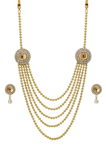 Bindhani® Traditional Gold Plated Ethnic Long Rani Har (Haar) Golden Necklace Earrings Set For Women  available at amazon for Rs.443