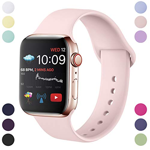 Hamile Correa Compatible con Apple Watch 38mm 40mm, Correa de Repuesto de Silicona Suave para Apple Watch Series 5/4/3/2/1, S/M, Rosa