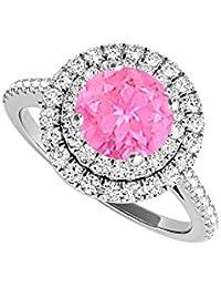 Pink Sapphire September birthstone halo Engagement Ring