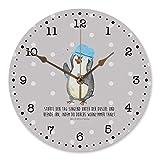 Mr. & Mrs. Panda 30 cm Wanduhr Pinguin duscht - Pinguin, Pinguine, Dusche, duschen, Lebensmotto, Motivation, Neustart, Neuanfang, glücklich Sein, Wanduhr, Uhr, Kunderuhr, Kinderzimmer, Rund, Druck