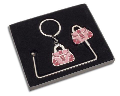 REFLECTS Taschenhaken und Schlüsselanhänger-Set CAPOTERRA Silber, Pink