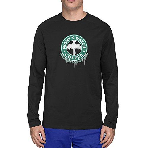 Planet Nerd - Night's Watch Coffee - Herren Langarm T-Shirt, Größe XL, (Von Brienne Kostüm Tarth)