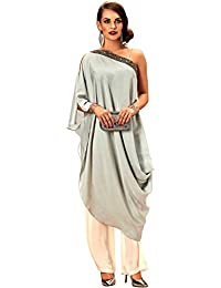 Khwaab Fusion Off Shoulder Grey Partywear Kurta And Palazzo(Western Designer And Funtional Wear)
