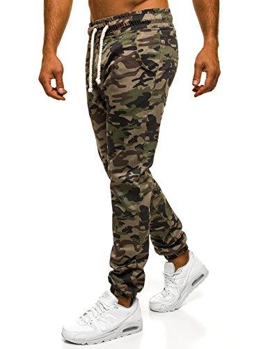 OZONEE Pantaloni Uomo Pantaloni Sport Jogging Fitness ATHLETIC 367 Verde