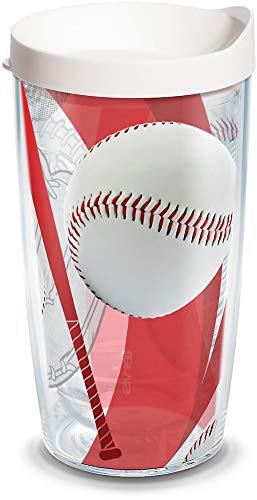 Tervis Baseballs Wrap Tumbler with White Lid, 16-Ounce by Tervis (Baseball Tervis Tumbler)
