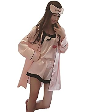 HX fashion Pigiama Donna 3 Pezzi Camicie Maniche Lunghe + Canotte + Pantaloncini Eleganti Primaverili Estivi Semplice...