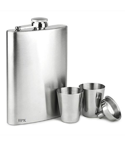 HPK REGISTERED BRAND BOX PACKED BIG HIP FLASK SET WITH FUNNEL AND SHOT GLASSES