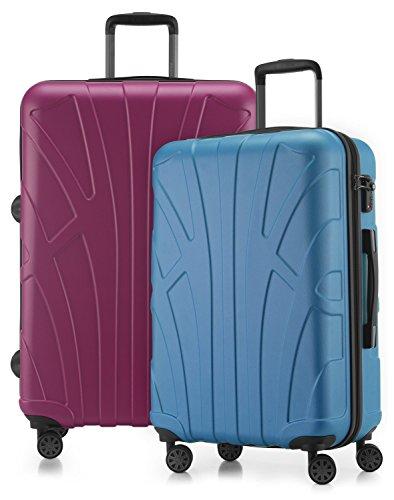 Suitline - 2er Koffer-Set Trolley-Set Rollkoffer Hartschalen-Koffer Reisekoffer, TSA, (66 cm, 76 cm), 100% ABS, Matt, Cyanblau / Magenta
