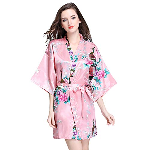 BaZhaHei Kimono Femme Robe de Nuit Peignoir Satin Fleurs Imprimée Vêtements Manches 1/2 Chemise de Nuit Cadeau pour la Fête Mariage(XXL,Pastèaue Rouge)