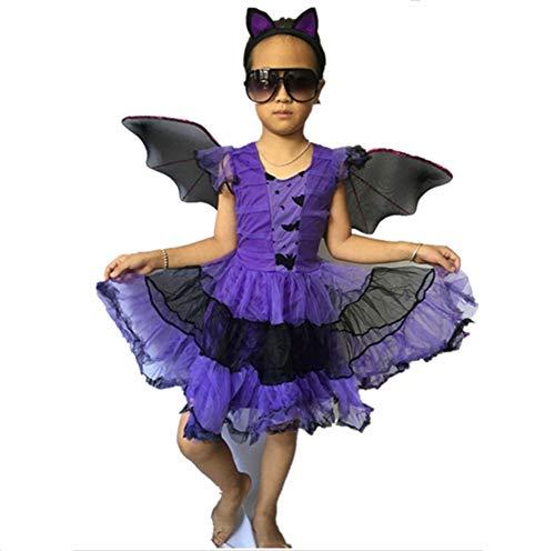 WJHFF Halloween Karneval Fledermaus Flügel Party Kostüm für Kinder Cosplay Requisiten lila
