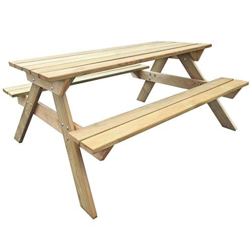 vidaXL Table de Pique-nique en Bois Table de Jardin Terrasse Meuble Extérieur