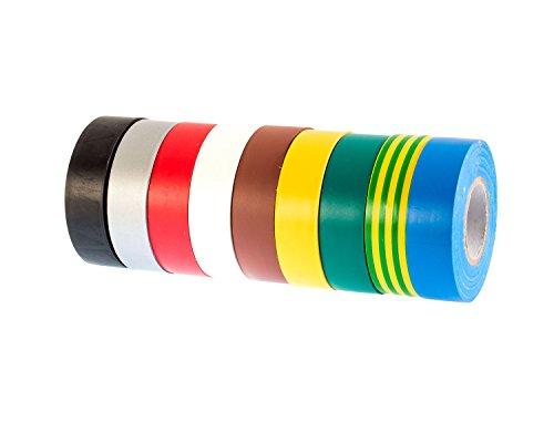 Gocableties 9 rollos Multi Pack de PVC aislante eléctrico cinta – 20...