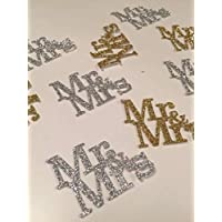 Mr and Mrs confetti. 25 Pieces Gold and silver. Engagement party, wedding decor, Bridal Shower Anniversary Confetti, Valentine's day, romance