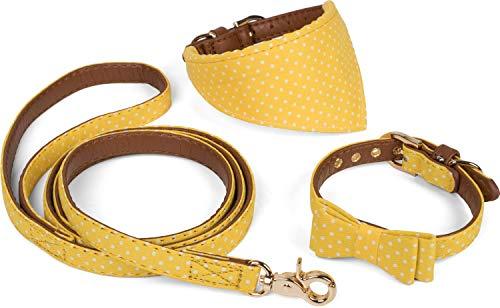 Puccybell Retro Punkte Hundehalsband mit Tuch, Schleife und Hundeleine (1,2m), 3-teiliges Set aus Bandana und Fliege Halsband mit Leine für kleine und mittelgroße Hunde HLS006 (S, Gelb) -