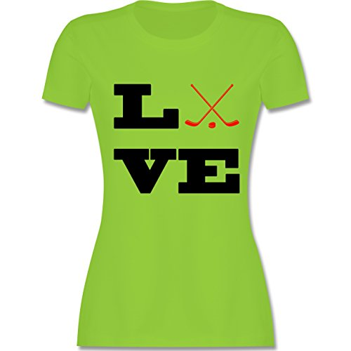 Eishockey - Eishockey Love - tailliertes Premium T-Shirt mit Rundhalsausschnitt für Damen Hellgrün