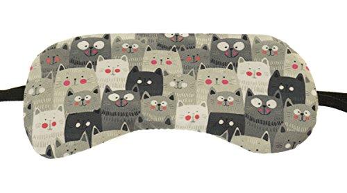 Schlafmaske Reise Relax Augen Abdeckung Bett Emoji Nickerchen Augenbinde Seine Rosa Muster Graue Katzen [042]