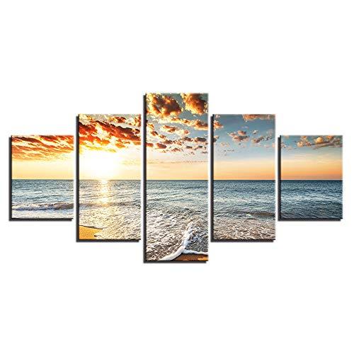 Comecong Dekorative Malerei,Zuhause Wohnzimmer Inkjet 5 Strand Sand Seascape Sofa Hintergrund Wandmalereien 4 Malerei Kern 10x15cmx2 10x20cmx2 10x25cmx1 (Weiß Halloween-gesicht-malerei Und Schwarz)