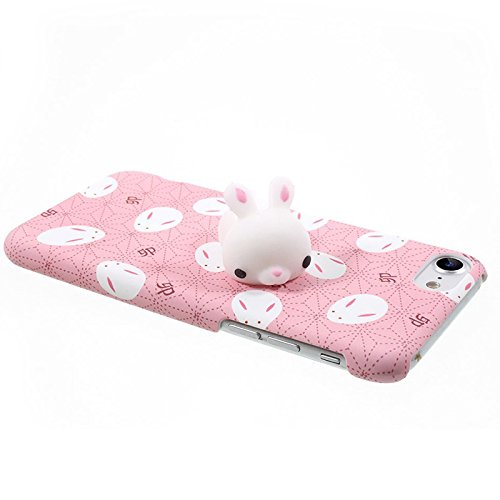 Finger Decompression phone case ,3D Soft Silicone Pinch Squishy Cat TPU Protective Back Cartoon Animal Apple phone Case for iphone 7 (4.7-inch) (Cat's partner) Lazy rabbit
