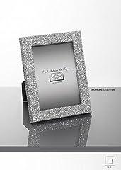 Idea Regalo - Cornice Portafoto in Legno Argento Glitter Mady in Italy Misura 13x18