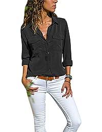 832149fff1f4 Camisas Vaquera Mujer Blusa con Botones Camisetas Manga Larga Sexy Tops  Color Sólido Cuello en V