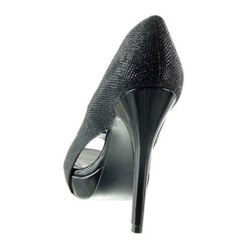 Stiletto stiletto sera lucide Moda Peep Scarpe 12 5 Angkorly Toe da alto Nero Tacco da decollete tacco donna scarpe CM AnOxw0Fq