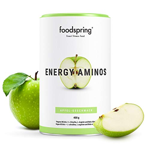 foodspring Energy Aminos, 400g, Apfel, Pre-Workout Booster mit pflanzlichen BCAAs, 100{8d9d89bdb9ef88765e340a2b076c275ae4a543ca3df2bc6761810b43d7cd6b2e} Workout-Booster 0{8d9d89bdb9ef88765e340a2b076c275ae4a543ca3df2bc6761810b43d7cd6b2e} Chemiekeule