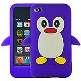 Tinkerbell Trinkets® Violet Mignon Pingouin Manchot Etui Coque Housse Pour iPod Touch 4th Gen Génération 4 4G
