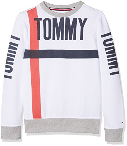 Tommy Hilfiger Jungen Sweatshirt Bold Text Crew Neck, Weiß (Bright White 123), 176 (Herstellergröße: 16)