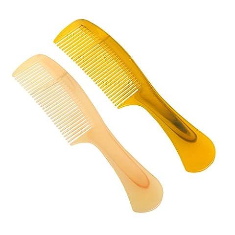 Nuohan Naturel fabriqué à la main Peigne en corne & # Xff0C; une bonne Flexibilité antistatique Middle Peigne pour cheveux raides Peigne