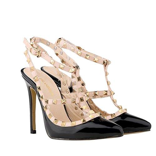 Women's Studded Patent Leather Contrast Stilettos&High Heel Pointed Toe Buckle Sandals T-Spangen Pumps mit Nieten Schwarz