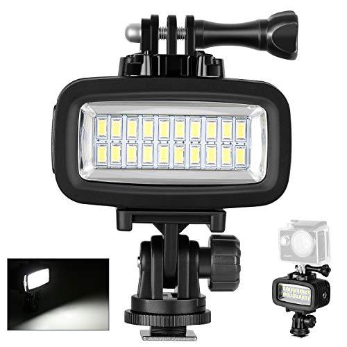 Neewer 20 LED 700LM Flash Lampe Réglable Étanche Jusqu'à 40m sous-Marin Rempli Lumière de Nuit 3 Filtre de Couleur (Blanc, Orange, Violet) Gopro Hero 4 3+ Action Tous DSLR Caméra