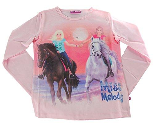 Miss Melody Mädchen T-Shirt Pferde Glitzer Print (Rosa, 128/134) (Rosa Pferd Shirt)