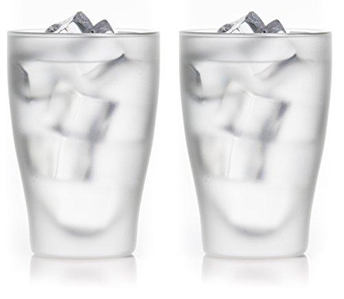 """2x 300ml """"satinierte"""" doppelwandige Latte Macchiato Thermo-Gläser mit Schwebe-Effekt, auch für Smoothies, Cocktails,Tee,Eistee,Wasser,Säfte,... - bedida by Feelino"""