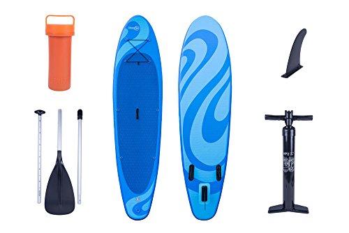 SUP Wave aufblasbares 95 kg Stand Up Paddle Board Set mit Hochdruckpumpe Tasche Paddel und Zubehör 300 x 76 x 13 cm Surfboard