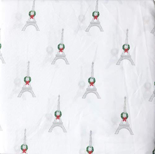 Cynthia Rowley 3-teiliges Bettwäsche-Set für Doppelbetten mit extra tiefen Taschen, Motiv: Paris Weihnachten, Eiffeltürme mit Kränzen