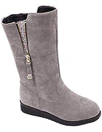 Voberry Women's Fashion Boots Flat Winter Warm Zipper Closure Snow Shoes