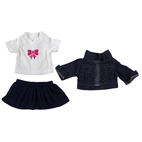 Homyl 3pcs/Set Puppen T-Shirt + Mantel + Rock Kleidung für 18 Zoll Amerikanische Mädchen Puppe - # C