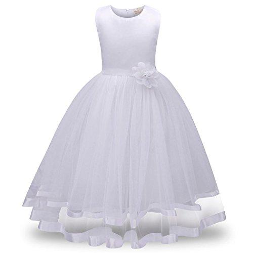 ❤️Kobay Blume Mädchen Prinzessin Brautjungfer Festzug Tutu Tüll-Kleid Party Hochzeit Kleid (Weiß, 140 / 6 Jahr)