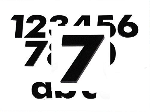 Hausnummer 7 SCHWARZ - HÖHE: 65mm, 3mm dick (KEINE dünne Folie), witterungsbeständig, schönes Design und sehr einfache Montage (kleben statt bohren) HAUSNUMMERN, NUMMER, ZAHL für Haustür, Tür, Briefkasten u. Sprechanlage aus PLEXIGLAS -