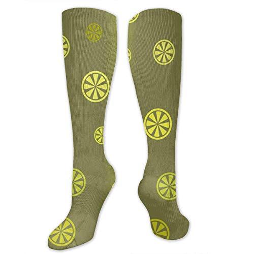 CVDGSAD Leuchtende Zitrus-Muster nahtlose Frauen & Männer Socken Kleid Socken Länge 19.7in / Breite 3.4in Polyester