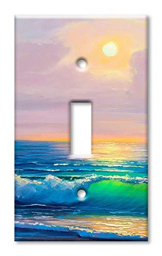 Wandteller, Übergröße, Motiv: Strand in the Morning Einzel-Kippschalter Mehrfarbig - Gang Faceplate