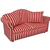 Dolls House Miniature 1:12th Scale Red Striped Sofa With Cushions