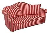 Puppenhaus Miniatur th Maßstab 1:12 Sofa mit Kissen, rot gestreift