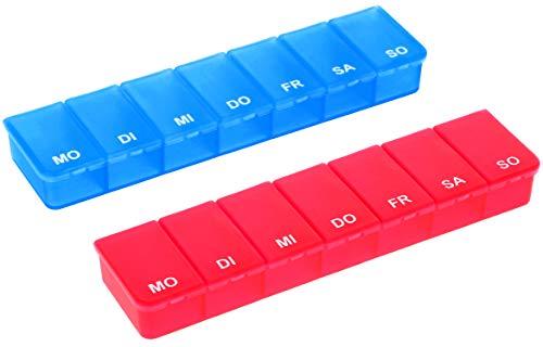 com-four® 2X Medikamentendosierer - Medikamenten-Box für 7 Tage - Pillendose - Tablettendose - Tablettenbox - Wochendosierer zur Aufbewahrung (02 Stück - blau/rot) - 7 Tage Pille Fall